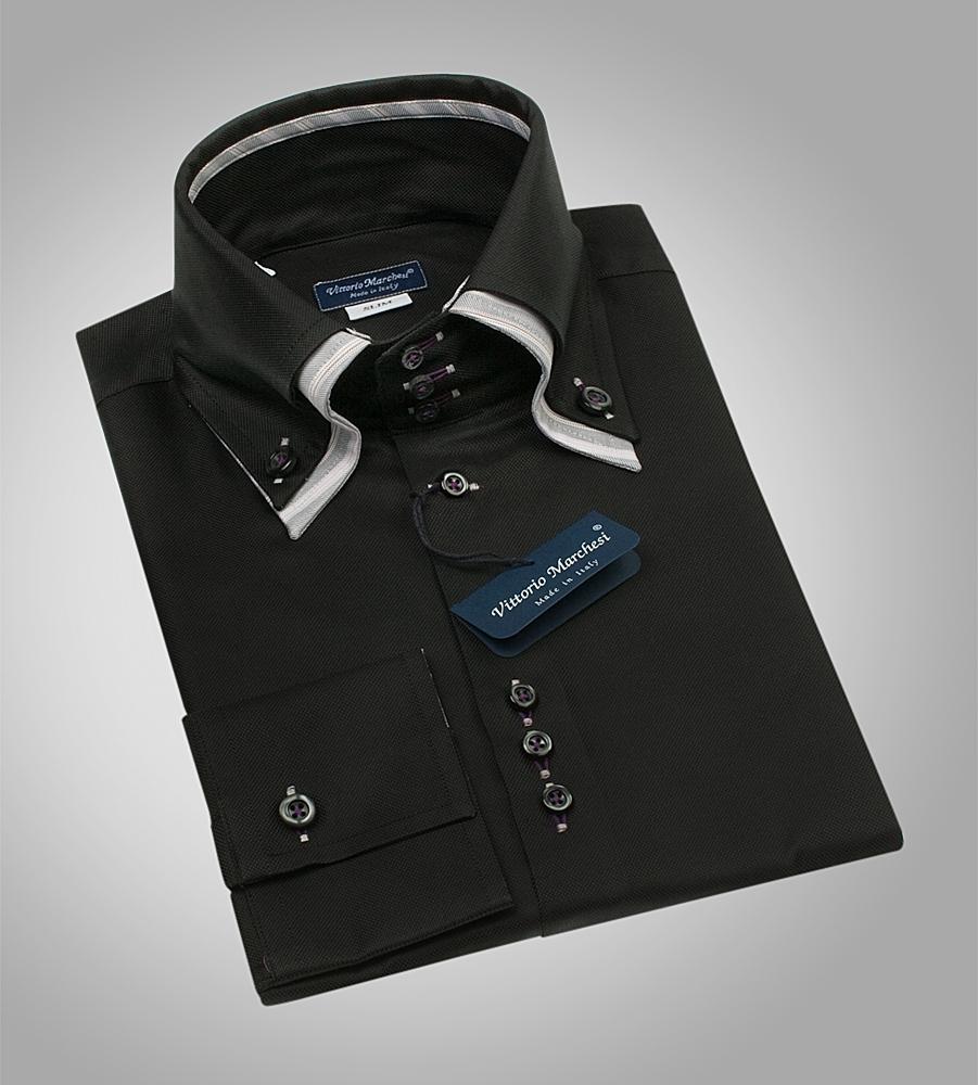 34b0803b2f6fdff Черная мужская рубашка с двойным воротником