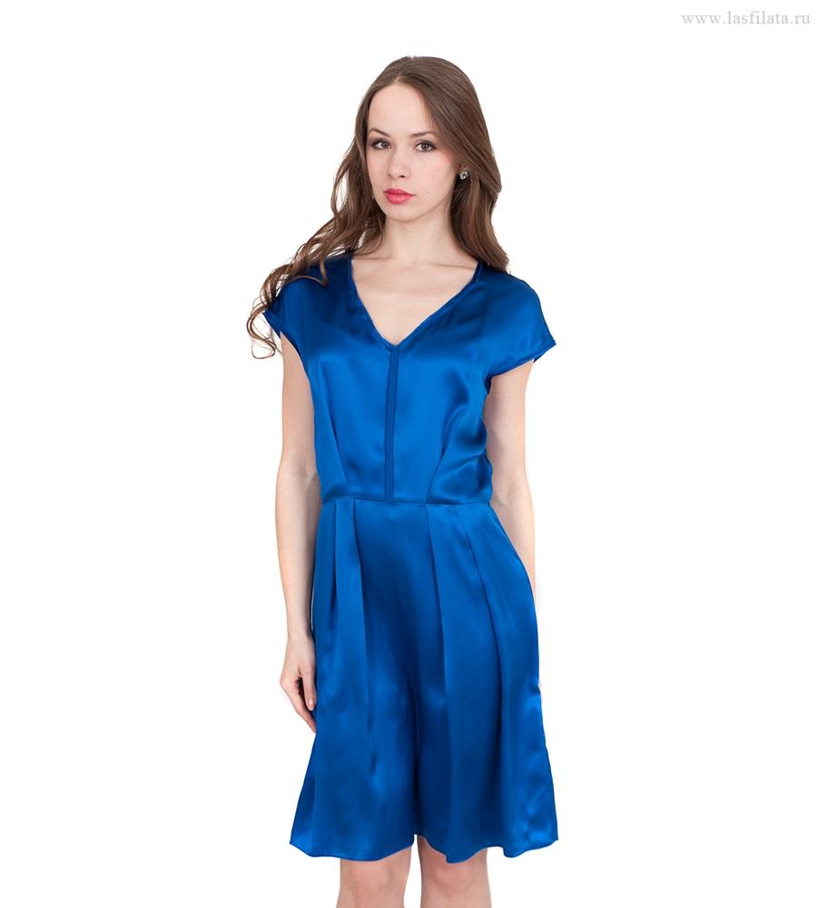 Синее Шелковое Платье 84